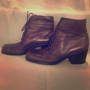 Brown 2 inch heel bootie.